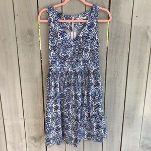 Milly Blue Floral V Neck Dress